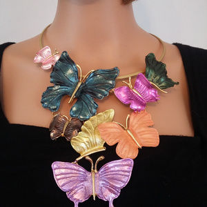 GP Colorful Cascading Metal Butterfly Necklace